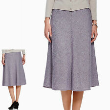 New M&S CLASSIC Long A-LINE Tweed Style SKIRT with WOOL ~ 16 or 18 ~ LILAC Mix