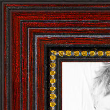 ArtToFrames 1 Inch Cherry with Gold Beads Wood Picture Poster Frame 80801 LG
