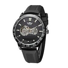 Mens Classic Automatic Mechanical Skeleton Silicone Strap Sport Wrist Watch O3S2