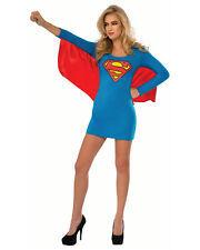 Womens Adult Superman Supergirl Superhero Dress With Wings Costume