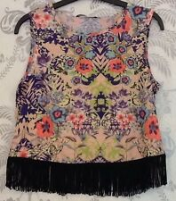 Women's Floral Sleeveless Multicoloured Bright Summer Frill Bottom Top In Size 8