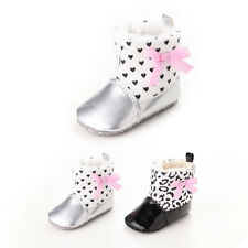 New Bow Warm Baby Flats Shoes Snow Boots Girl Infant Winter Plush Polka Dot Soft