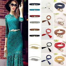 NEW Womens Vintage Elastic Stretch Skinny Thin Waistband Buckle Strap Waist Belt