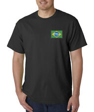 Embroidered Brazilian Flag Brazil Rio Soccer World Cup Pride T-Shirt S-5XL