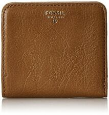 Fossil Sydney Bi-Fold Mini Wallet Pebble Leather Camel & Brown NEW with Tags