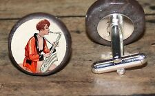 SAXOPHONE pin up girl art marble Cuff Link or Tie Tack or Ring or Pendant or Pin