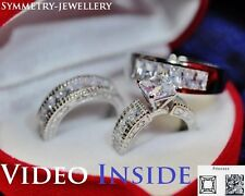 His&Hers Fine jewellely Wedding engagement Ring Set St Silver F.925 Fancy8JW*