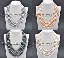 X0461 4Strds 10mm Round Freshwater Pearl Necklace 16~19inch