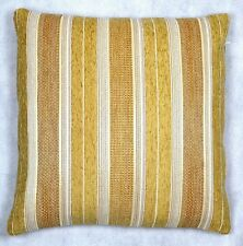 NATURAL CREAM SERIT STRIPES 18x18in CHENILLE CUSHION COVER - UK MADE (45x45cm)