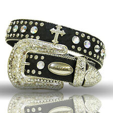 Atlas Western Womens Leather Belt Ostrich Rhinestones Cross Concho Black