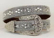 Atlas Western Womens Belt Leather Rhinestones Silver