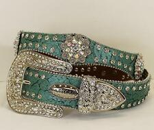 Atlas Western Womens Belt Leather Scalloped Rhinestone Studded Conchos Turquoise