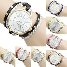Fashion Women Crystal Big Dial Leather Bracelet Analog Quartz Dress Wrist Watch