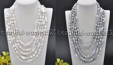 X0464 5Strds 13mm Gray & White Baroque FW Pearl Clean Crystal necklace 21inch