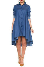 womens bodycon club party Blue Denim Collared Shirt Long Sleeved Midi Dress