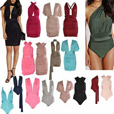 New Women Ladies Sexy Ruched Wrap Do It Anyway Multiway Slinky Bodycon Dress