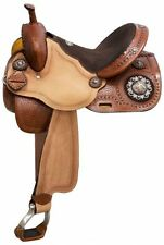 Dbl T Barrel Saddle w/ Barrel Racer Conchos Accented w/Copper Flower Studs!