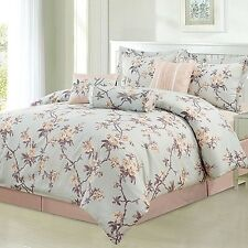 NEW Twin Full Queen King Bed Blue Peach Purple Peony Floral 7 pc Comforter Set