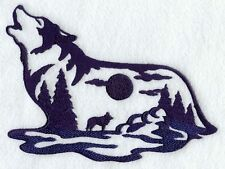Embroidered Wolf Silhouette Scene 2 Piece Bathroom  Hand Towels White