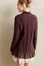 Anthropologie Ismare Cabled Cardi Sz XS, Dark Purple Cardigan, Knitted & Knotted