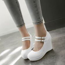 Womes Round Toe High Platform Wedge Heels Wedding Sweet Buckle Shoes Plus Size