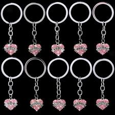 Silver Keyrings Keychain Key Chain Family Gifts Crystal Heart Pendant