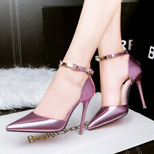 Womens High Heels Pointed Toe Sandals Metal Ankle Strap OL Pumps Sexy Stilettos