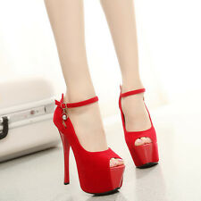 Women's Platform High Heels Peep Toe Sandals Faux Suede Ankle Straps Sexy Pumps