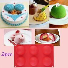 2pc 6 Half Ball Round Chocolate Cake Candy Soap Mold Flexible Silicone Mould MC