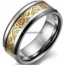 Men's Comfort Fit Tungsten Wedding Band Ring Celtic Dragon Gold Inlay Gifts 8mm