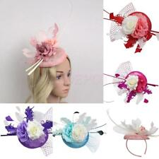 Feather Fascinator Flower Veil Linen Top Hat Millinery Headband Wedding Party