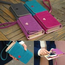 Leather Multifunction Envelope Case Purse Wallet For Samsung Galaxy Iphone FNHB