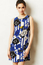 Anthropologie Canna Shift Size 4, Blue & Black Bold Floral Print Dress By Maeve