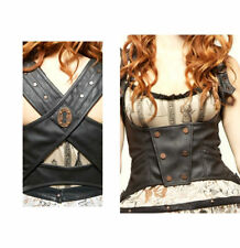 Lip Service Step in Time Underbust Corset Steampunk Leather Vinyl Bronze X Back