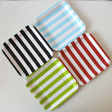 "36x 7"" Square Paper Plates Striped Style Birthday Party Baby Shower Favor Supply"