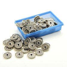 100Pcs Tibet Silver Loose Spacer Beads Charms Jewelry Making Findings DIY Beads