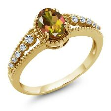 0.99 Ct Oval Mango Mystic Topaz White Topaz 14K Yellow Gold Ring