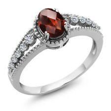 1.01 Ct Oval Checkerboard Red Garnet White Topaz 925 Sterling Silver Ring