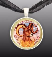 "Aries The Ram Illustration 1"" Space Pendant Necklace in Silver Tone"