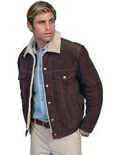 Scully Western Jacket Mens Boar Suede Sherpa Snap Chocolate Brown 113-86