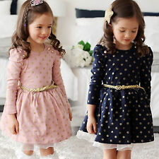 New Kids Baby Toddler Girls Princess Long Sleeve Lace Tutu Dress Polka Dot Skirt
