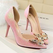 Women Bowknot High Heel Pearl Rhinestone Pumps Pointed Toe Stiletto Sequin Shoes