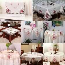 Pretty Vintage Embroidered Cutwork Tablecloth Banquet Wedding Party Table Cover
