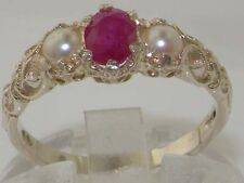 Ladies Solid 925 Sterling Silver Natural Ruby & Pearl Victorian Ring