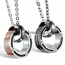 Fashion Men Women Chain Rhinestone Double Ring Pendant Stainless Steel Necklace