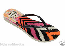 Havaianas Slim Tribal Women Flip Flops - White Black Sandals