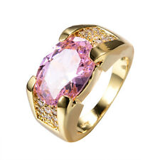 Size 6-12 Pink Sapphire Women's 10Kt Yellow Gold Filled Engagement Wedding Ring