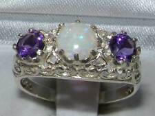 Solid 925 Sterling Silver Genuine Opal & Amethyst English Filigree Trilogy Ring