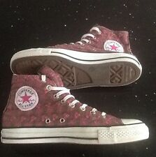 'CONVERSE ALLSTAR' BROWN/PINK EMBROIDERY HIGH RISE TRAINERS SIZE 5.5