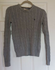 Jack Wills Cotton Tinsbury Grey Cable Crew Neck Jumper size 8